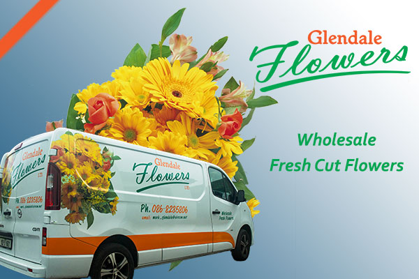 florist supplies link to login to Glendale Flowers webshop showing glendale flowers logo and van